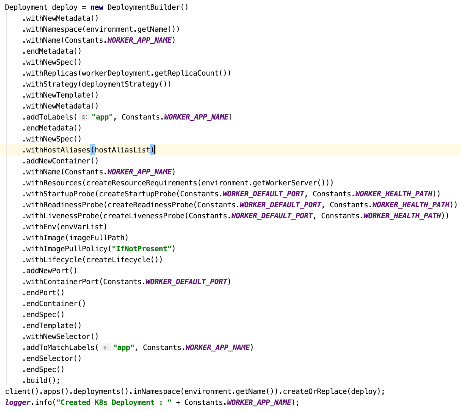 fabric8 kubernetes client - deployment